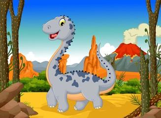 funny cute dinosaur cartoon  with volcano landscape background