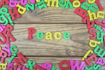 Peace on wooden table
