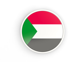 Flag of sudan. Round icon with frame