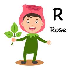 Alphabet Letter R-rose,vector