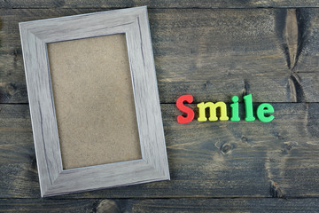 Smile on wooden table