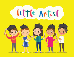 little artist, isolated kids children with painting tools cartoon illustration