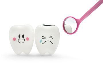 Tooth smile and cry emotion with dental mirror on white background.