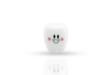 Tooth smile emotion on white background