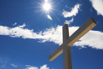 Cross with Blue Sky and Sun