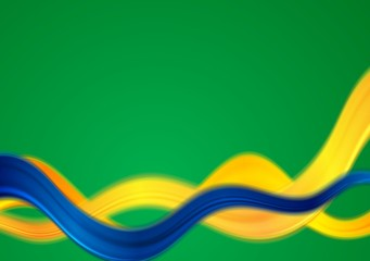 Brazil colors abstract vector smooth wavy background