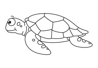 cartoon sea turtle, vector