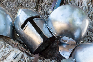 metal helmet and armor of a knight