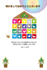 2017年酉年のニワトリのイラスト年賀状テンプレート