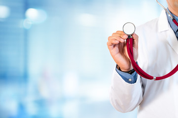 Doctor Holding A Stethoscope For Auscultation