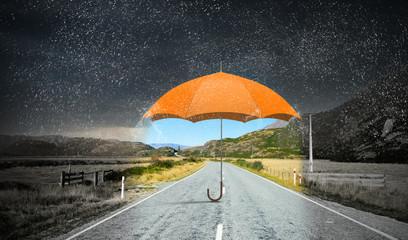 Obraz Color umbrella in sky . Mixed media - fototapety do salonu