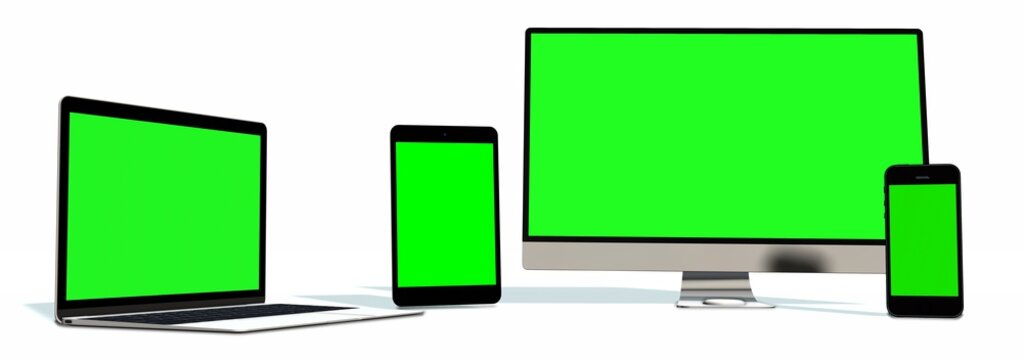 realistic Monitor laptop tablet and phone set with green screen