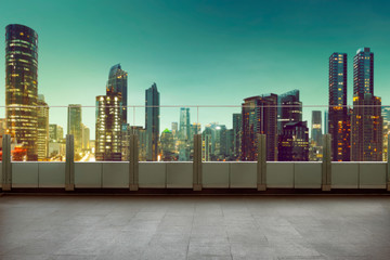 Roof top balcony with cityscape background