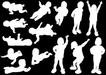 fourteen child silhouettes collection isolated on black