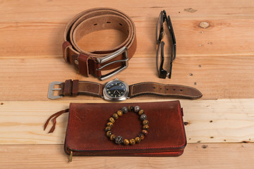 Men's accessories, shoes, belt, glasses, wallet, watch