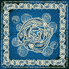 Bandana print with design for silk neck scarf. Fish swim in a circle.Vector pattern in the square.Beige ornament  on blue background.