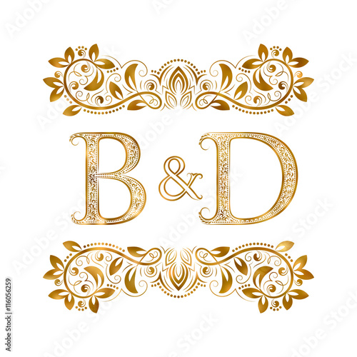 BD Vintage Initials Logo Symbol Letters B D Ampersand Surrounded By Ornamental Elements