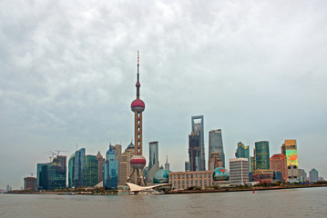 Pudong riverfront buildings and the pearl tower. one of the most famous tourist destinations in Shanghai.