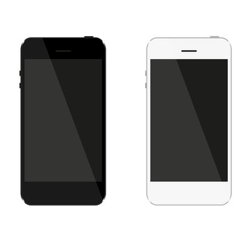 Set which consists of black and white phone