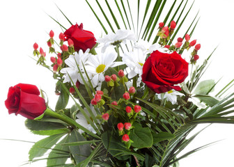 Bright bouquet with chamomiles and roses..