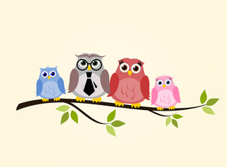 Owl family sitting on a branch vector