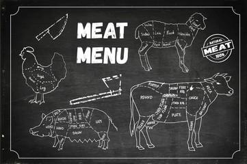 Meat menu. Set of  symbols, beef, pork, chicken, lamb. Vector Illustration