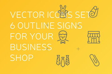Vector icons set. 6 outline signs for your business shop, store, marketplace, cafe, restaurant, event agency.