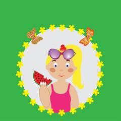 Vector illustration of a girl eating watermelon