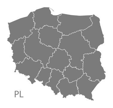Poland Map with regions grey