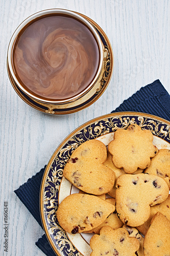Photo: Dried-Cranberry Shortbread Hearts With Coffee on a White Wooden ...