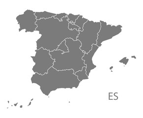 Spain Map with provinces grey