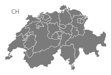 Switzerland Map with federal states grey