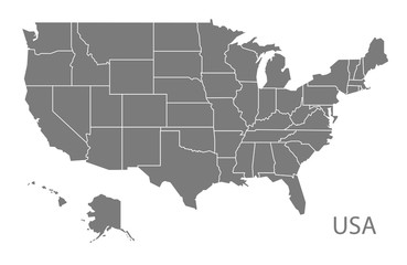 USA Map with federal states grey Fototapete