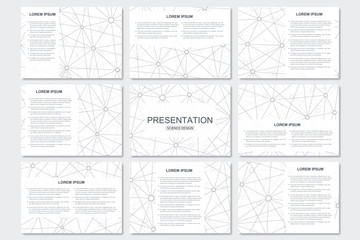 Set of modern business presentation templates in A4 size. Connection structure. Abstract background with molecule DNA and neurons