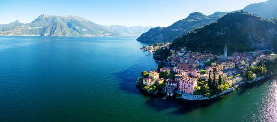 Varenna - Lago di Como (IT) - Vista aerea all'alba verso nord