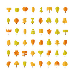 Flat vector autumn trees bundle in flat style