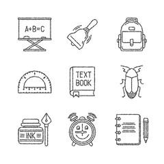 Set of vector school icons in sketch style