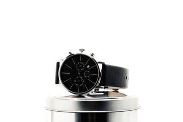 Herrenarmbanduhr schwarz silber analog