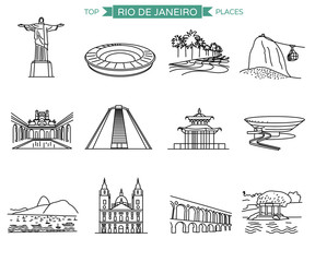 Rio de Janeiro landmarks and top places to visit. Line icons vector set of 12 most popular sights.