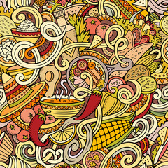 Cartoon mexican food doodles seamless pattern