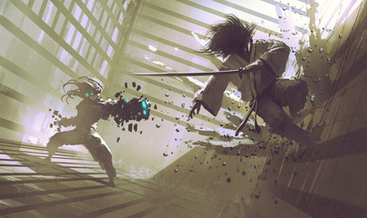 fight between samurai and robot in dojo; sci-fi action scene, illustration,digital painting