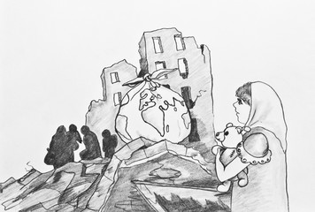 Pencil drawing.The tragedy of war