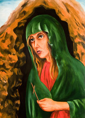A portrait of Mary Magdalene with a cross in hand. Oil painting.