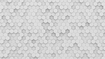 White hexagons mosaic 3D render