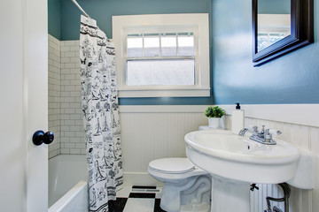 Light bathroom interior design with blue walls