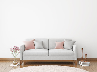 Interior poster mock-up with fabric sofa and pillows on white wall background. 3D rendering.