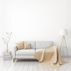 Interior poster mock-up with fabric sofa, plaid and pillows on white wall background. 3D rendering.