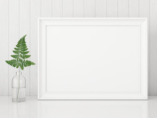 Horizontal interior poster mock up with empty frame and fern leaf in glass bottle on white wall background. 3D rendering.