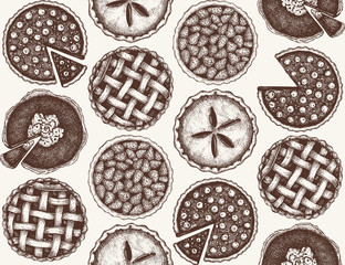 Vector background with ink hand drawn fruit and berry baking illustration. Vintage seamless pattern with traditional cake, tart and pie sketch. Sweet bakery. Top view.