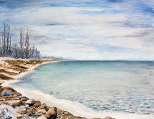 Sea is covered with ice. Oil painting